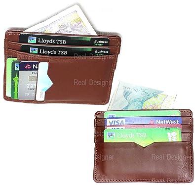 Rd Herren Echt Leder Braun Slim Mini Ec Karte Halter Wallet Münzen