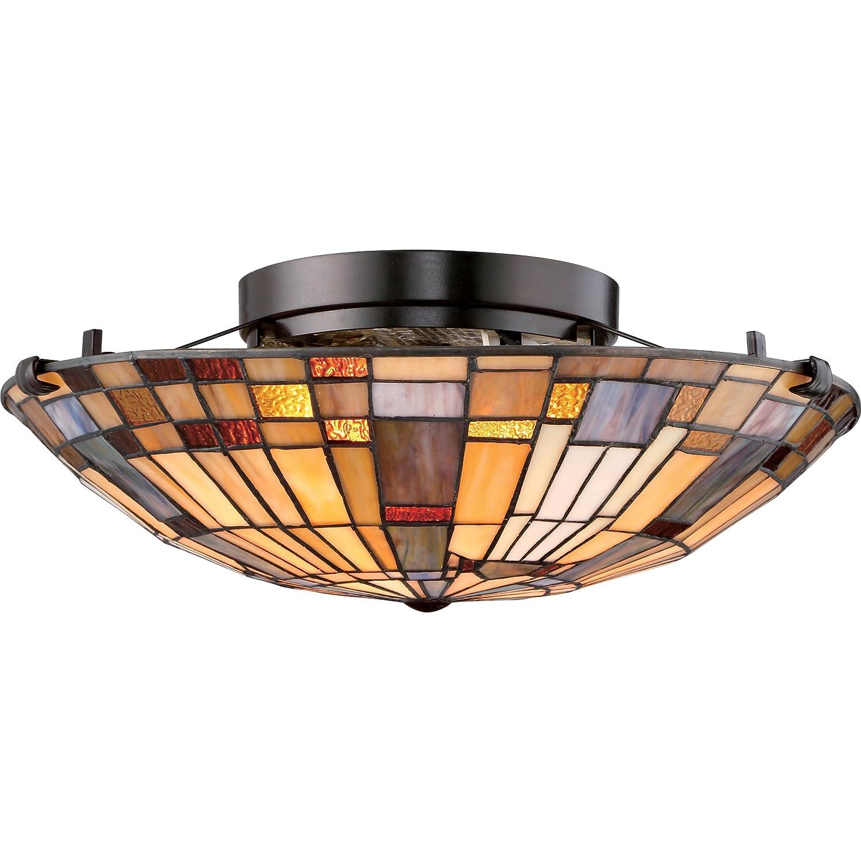 """Quoizel TFIK1617VA Inglenook Flush Mount Ceiling Lighting, 2-Light, 150 Watts, Valiant Bronze (6"""" H x 17"""" W"""