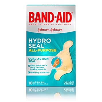Band-Aid Brand Hydro Seal Waterproof All Purpose Adhesive Bandages for  Wound Care or Blisters, 10 ct