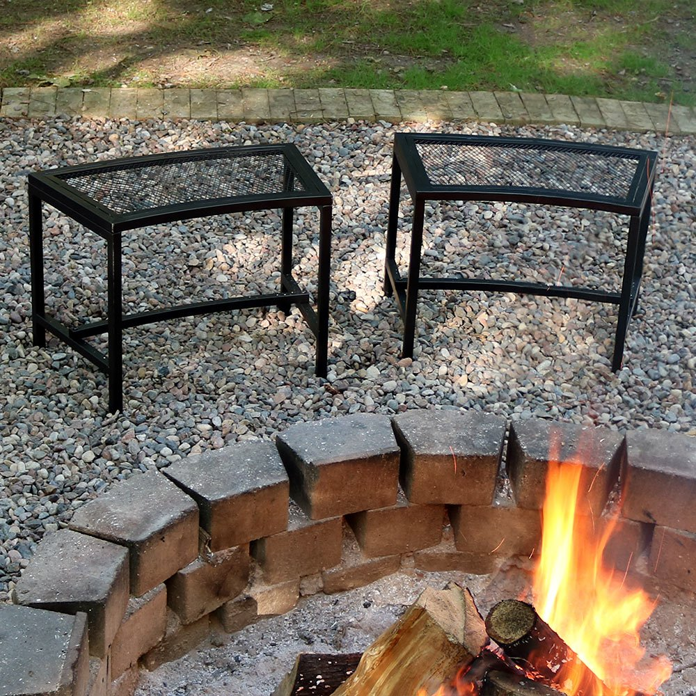Sunnydaze Fire Pit Bench, Outdoor Patio Seating, Black Mesh – Set of 2