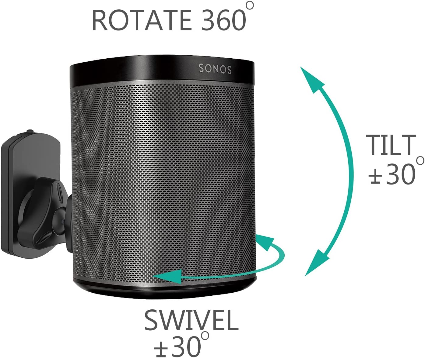 Electronics Hold up to 6.6lbs, Black SWM003 WALI SONOS Speaker ...