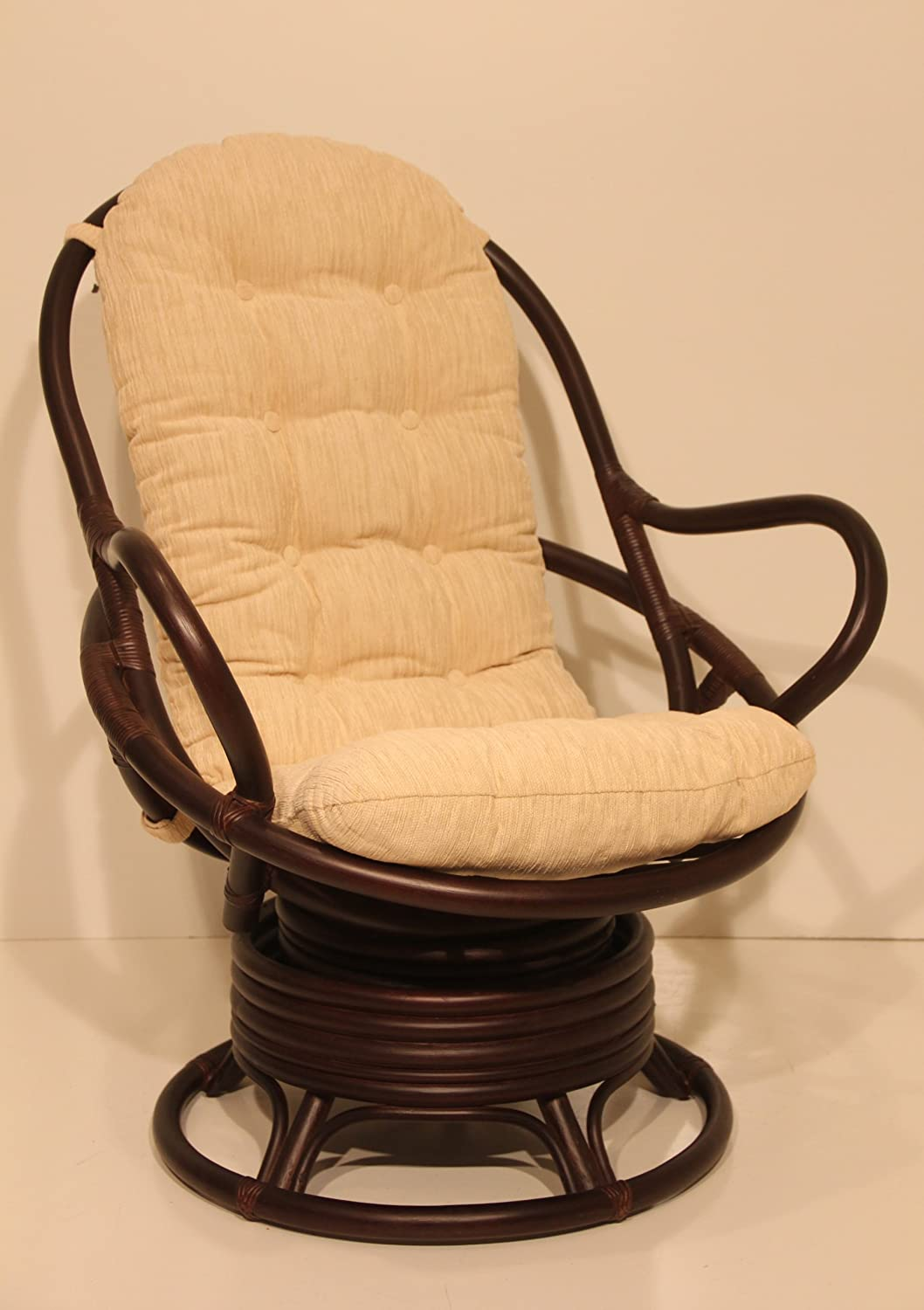 Captivating Amazon.com: Java Swivel Rocking Chair Dark Brown With Cushion Handmade  Natural Wicker Rattan Furniture: Kitchen U0026 Dining
