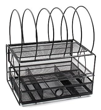 Bandeja organizadora de escritorio, 5 secciones, con cajón, diseño de rejilla, bandeja doble para cartas, color negro: Amazon.es: Oficina y papelería