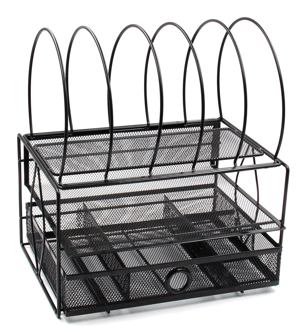 EasyPAG Mesh Desk File Organizer Tray with 5 Sorter Drawer, Black