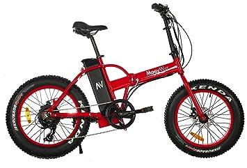 MoovWay Velo eléctrico Fatbike Todo Terreno (Plegable), Color Rojo