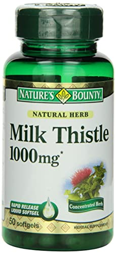 Nature s Bounty Milk Thistle 1000 mg Softgels, 50 Count Bottle