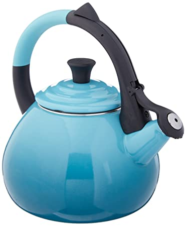 Le Creuset Enameled Steel 1.6 Quart Oolong Tea Kettle, Caribbean