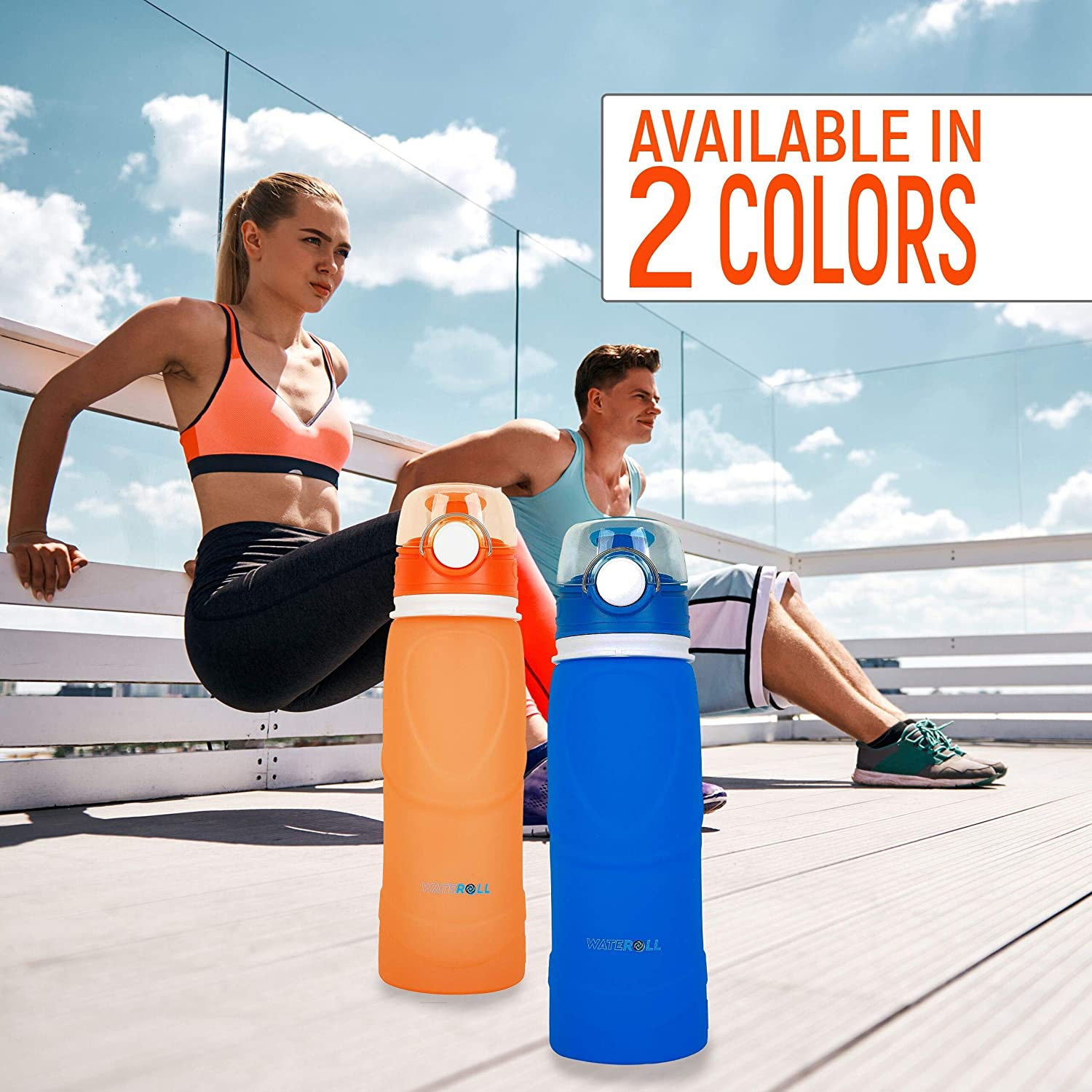 Collapsable Travel Sports Silicone Waterbottles 26oz Medical Grade BPA Free Foldable Water Bottle Collapsible Portable Leak Proof and Anti Spill Valve