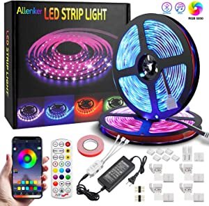 LED Strip Lights 32.8ft RGB Strips Tape Light with Bluetooth - 300 LEDs SMD5050 LED Light Strip Color Changing Music Sync - Decoration for Bedroom Home TV Party - APP Remote Controlled