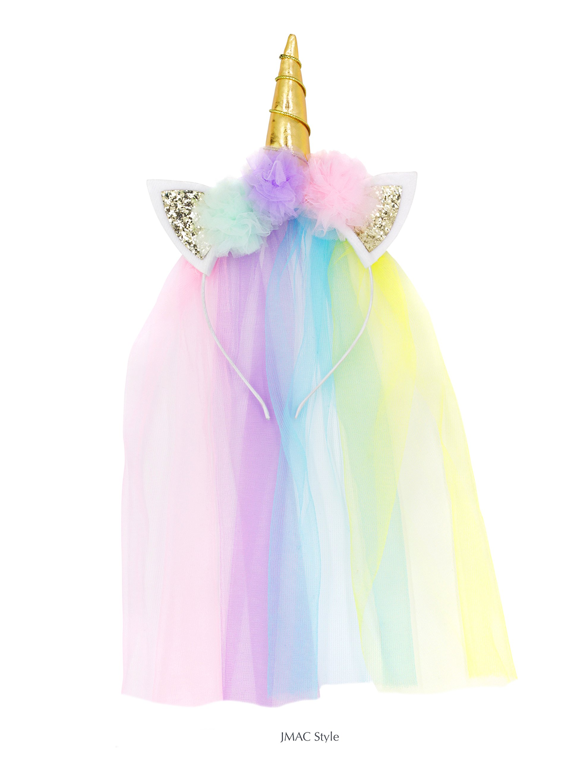 Rainbow Unicorn Headband with Gold Horn, Glitter Ears, Ultra Soft Veil, for Birthday Party Decoration or Cosplay Costume for Girls and Adult