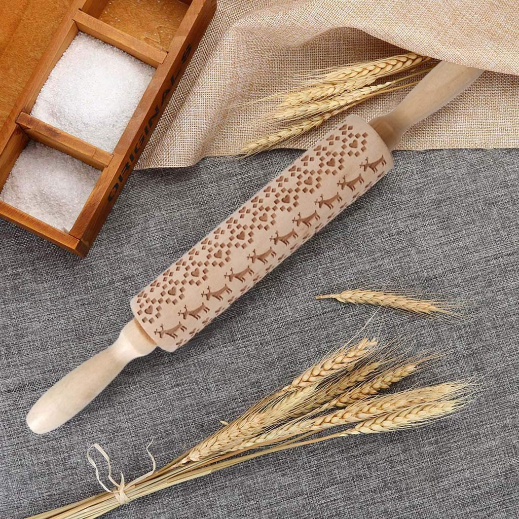 Arrowsy Embossed Rolling Pin Engraved Rolling Pin for Baking Cute and Lightweight Wooden Rolling Pin for Kids and Adults to Make Cookie Dough Attractive Professional Cookie Decoration US Shipping