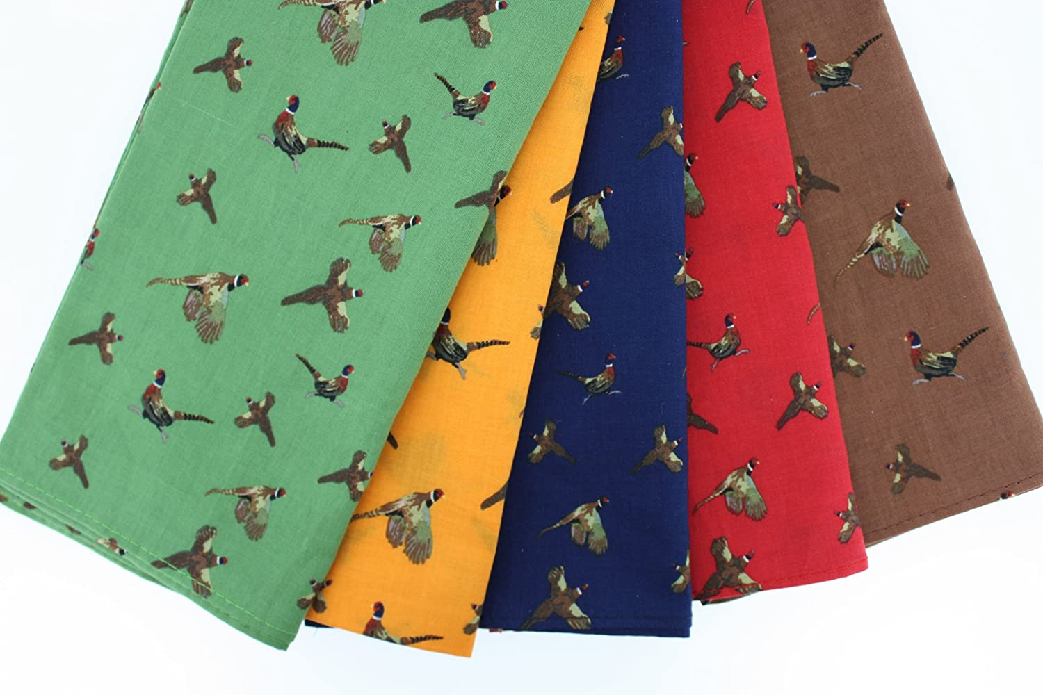 A pack of 5 Soprano luxury 100% cotton country handkerchiefs - 40cm x 40cm - with flying and running pheasants - 5 colours - yellow / brown / green / red / blue