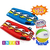 "Intex Joy Rider Surf 'n Slide Pool Floats (44"" x 24.5"") Red & Blue Gift Set Bundle with Bonus ""Matty's Toy Stop"" 16"" Beach Ball - 2 Pack"