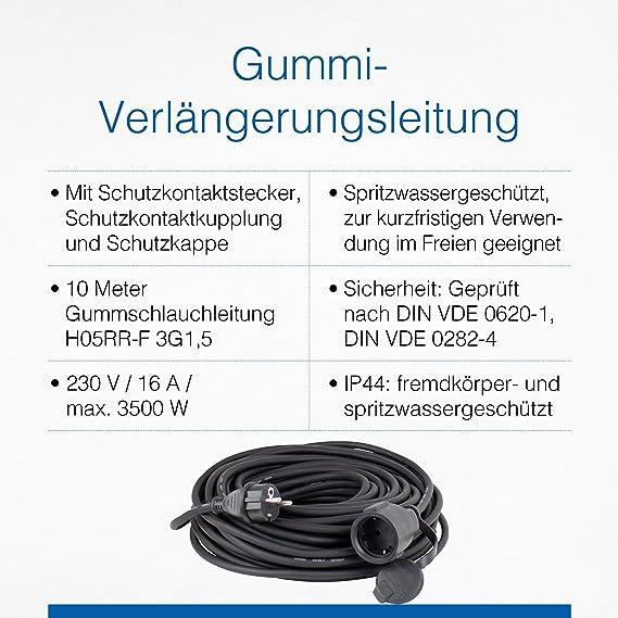 As Schwabe Gummi Verlängerungsleitung 10 M Kabel Mit Schutzkontaktstecker Und Schutzkontaktkupplung Inkl Schutzkappe 230 V 16 A Verlängerungskabel Ip44 Schwarz I 60310 Baumarkt