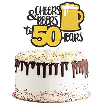 Cheers Beers To 50 Years Gold Glitter Cake Topper Happy Birthday Anniversary Party Decoration