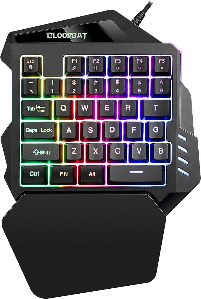 iAmotus Teclado Gaming para Una Sola Mano Ergonomica Reposamanos Rainbow LED Retroiluminación 35-Key Mini Portatil Teclado Profesional para Juegos per ...