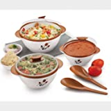 BMS Lifestyle Food Serving Casserole and Bowl, Brown(Pack of 5)