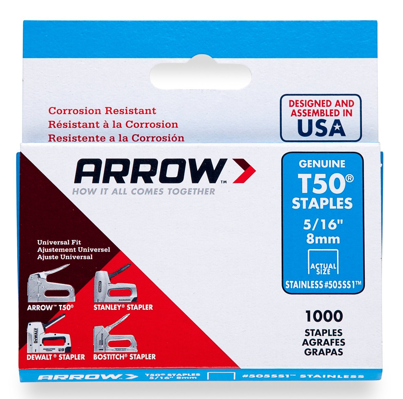 Arrow Fastener 505SS1 Genuine T50 5/16-Inch Stainless Staples, 1,000-Pack by Arrow Fastener
