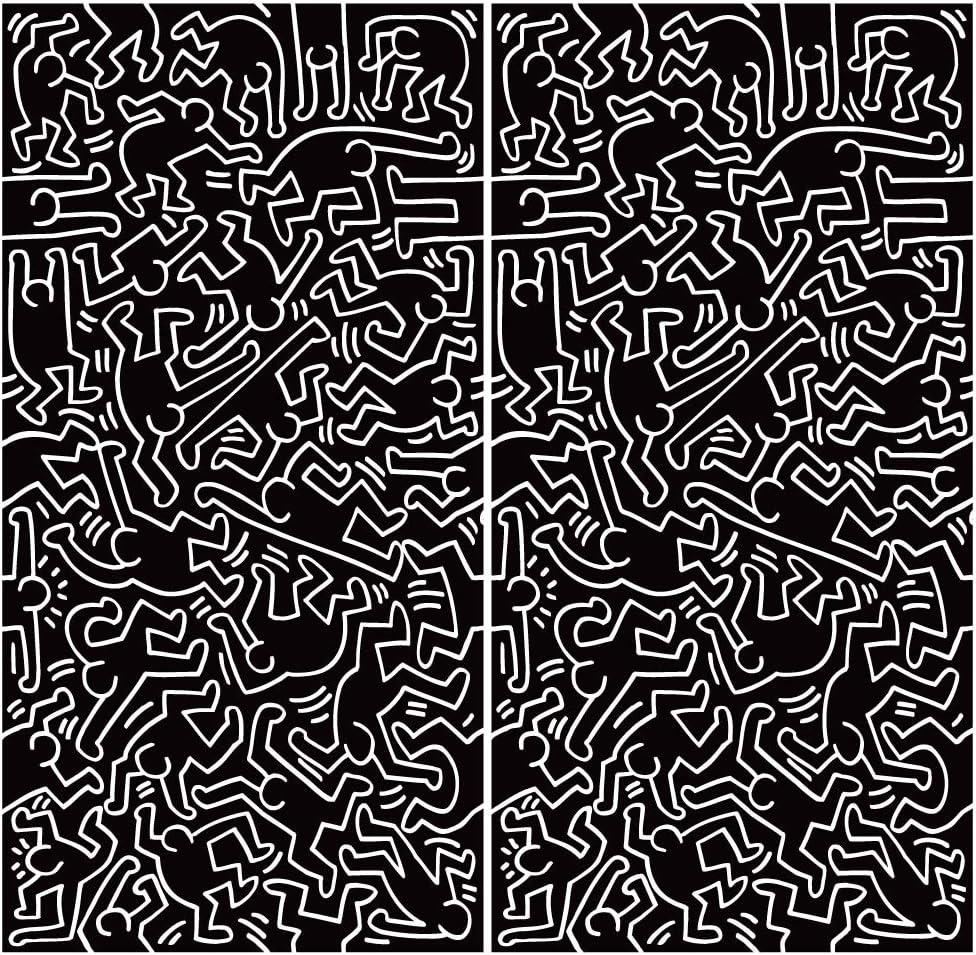 Amazon Blik Keith Haring Dancers ファブリックウォールタイル 公式ライセンス品 キースハーリングアートワーク 可動 取り外し可能 剥がして貼るデザイン 環境に優しい生地 2枚セット 各24 X 48インチ ウォールステッカー オンライン通販