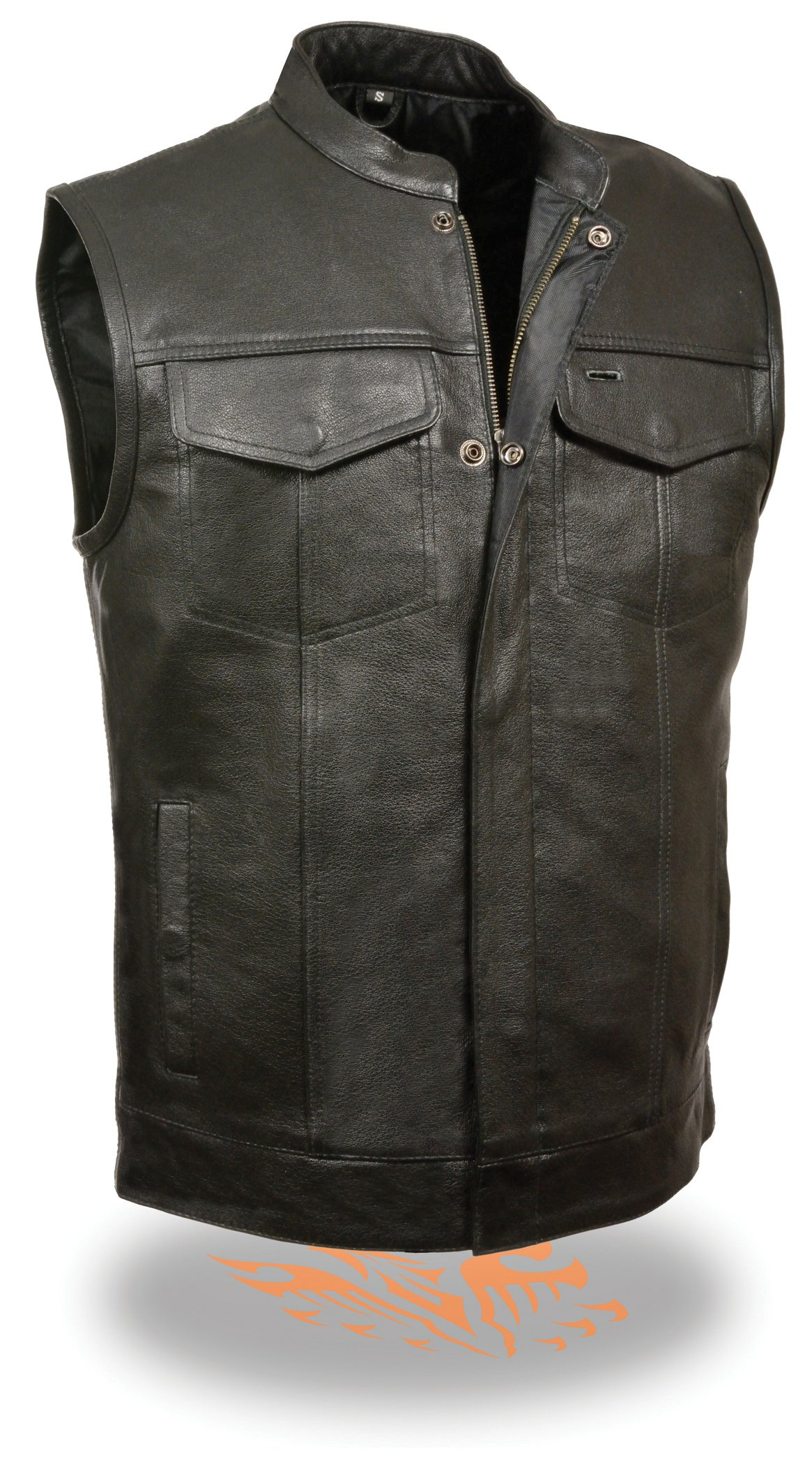 The Ultimate One Stop Shop for All Club Style Zipper Front Vests - All Varieties of Club Cut Vests Leather & Denim (Large, Black - w/ Collar)