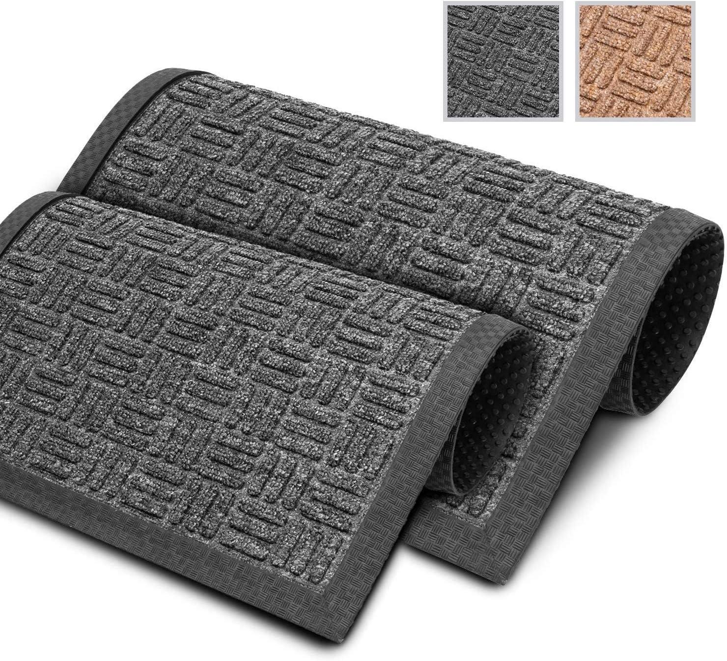 GadHome Felpudo Antisuciedad Exterior, Negro 40x60cm | Alfombrillas Lavables de Alta Resistencia para el Hogar y la Oficina | Fácil de Limpiar, Borde y Base de Caucho Antideslizante, Textura Única