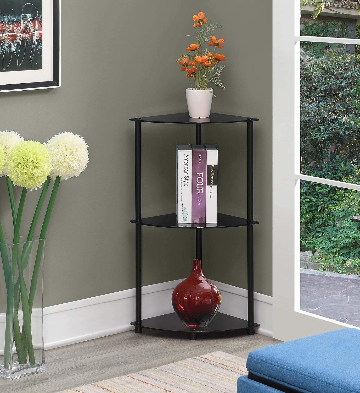 Black Glass Convenience Concepts Designs2Go Classic 3-Tier Corner Shelf
