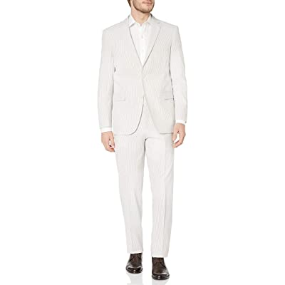 Adolfo Men's Seersucker Modern Fit Suit, tan/White, 38 Regular at Men's Clothing store