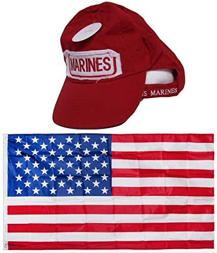 ec83bc8eb40 USMC Marines Marine Corps Red Patch Distressed Washed Embroidered Hat Cap    USA Flag 3x5 Super