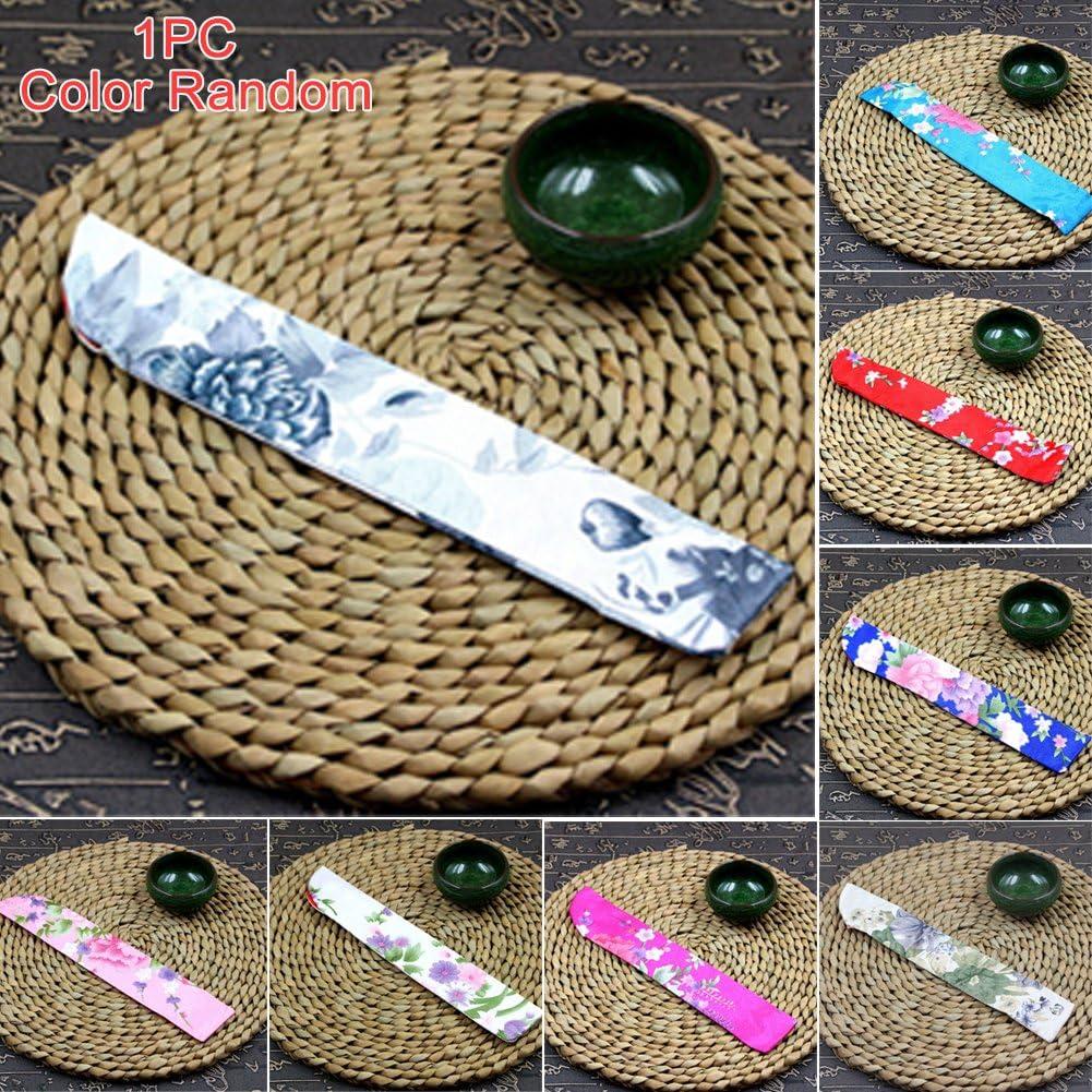 Tama/ño libre plegable bolsa de almacenamiento para abanico de mano Random Color Funda para abanico plegable dise/ño floral tela de seda