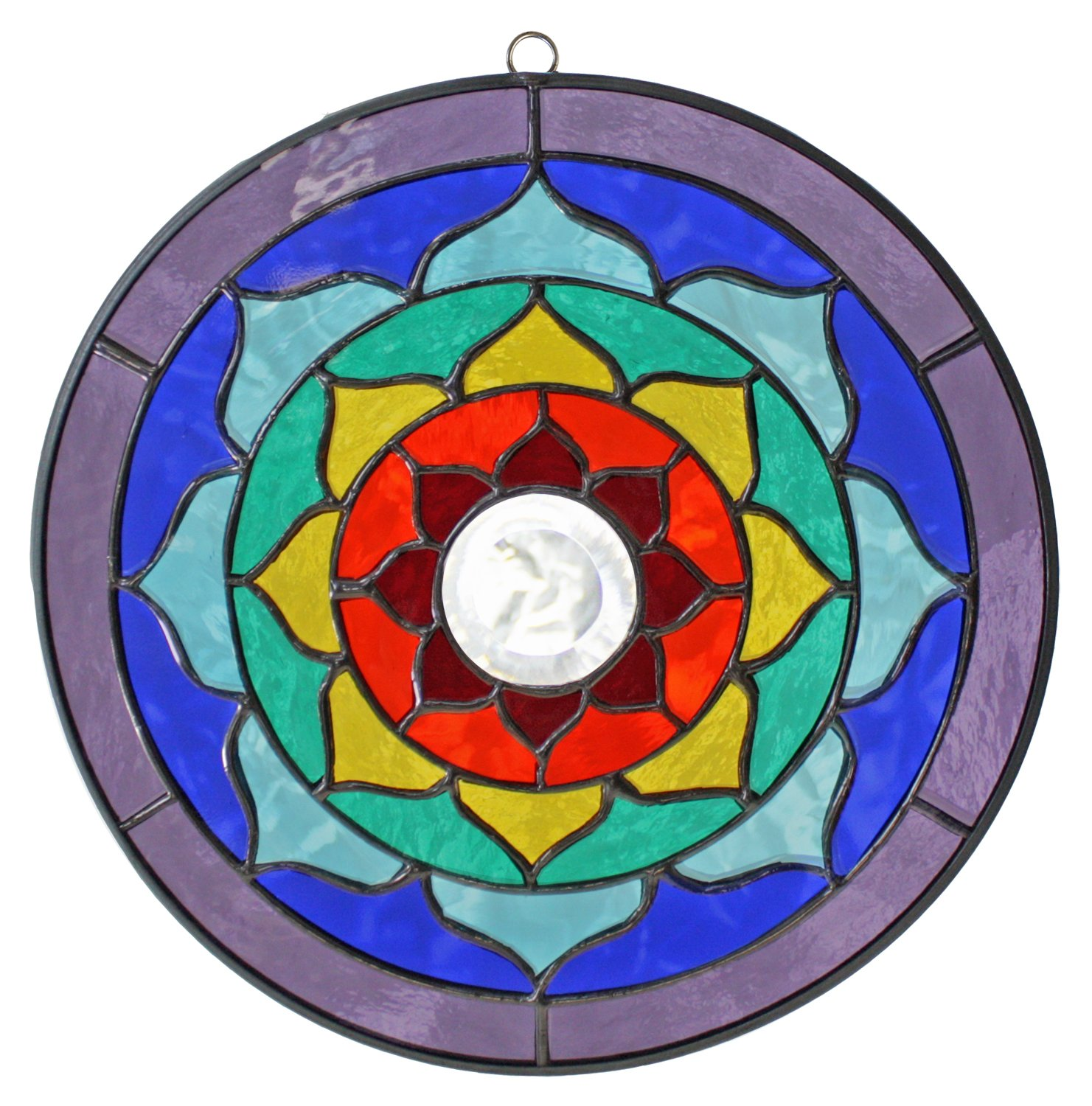 Supreme Swan 8 inch Lotus Mandala Stained Glass