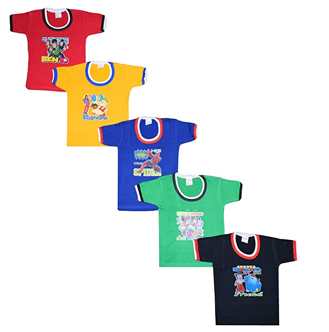 344c52698cff ISAKAA 5 Half Sleeve Cotton Colour Tshirts Baby Boys and Girls (0-6 Months