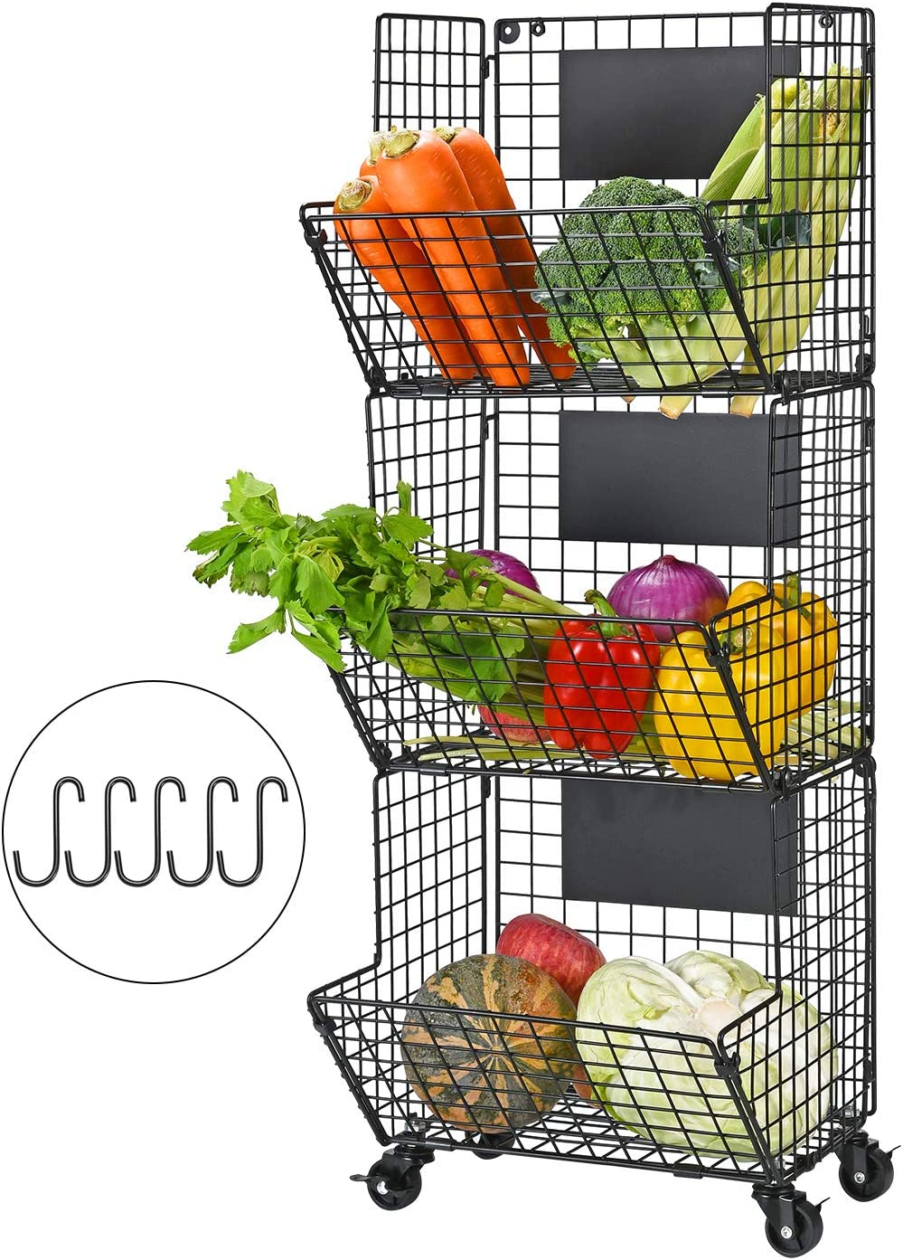 YUKOOL 3-Tier Hanging Wire Baskets with Wheel and Adjustable Chalkboards, Metal Wall-Mounted Storage and Organization for Kitchen, Fruit, Vegetables, Toiletries, Bathroom