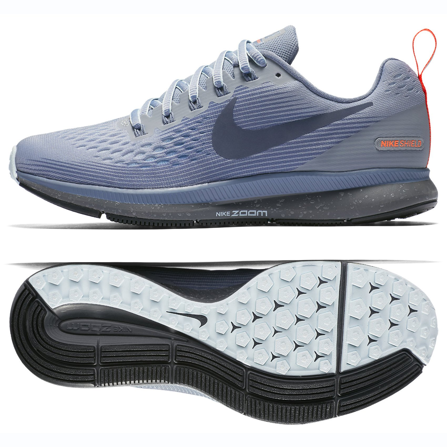 new product 69083 23d4b NIKE W Air Zoom Pegasus 34 Shield 907328-002 Wolf Grey/Thunder Blue Women's  Running Shoes (7.5)