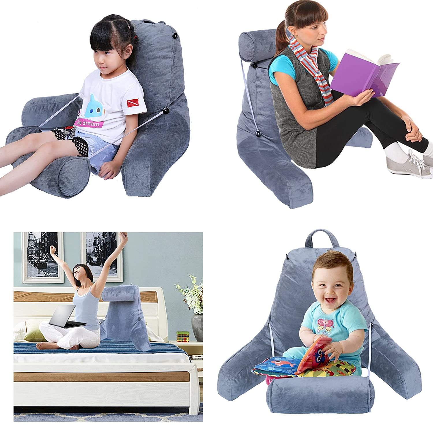 HZDY Large Backrest Reading and TV Pillow Advanced Memory Foam Blend Fill,Pregnant Women Cushions Lumbar Pad Detachable Neck Pillow,Removable Cleaning Grey Coat Great As Backrest for Books or Gaming