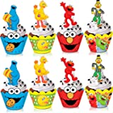TMCCE Sesame Street Elmo Cupcake Toppers and Wrappers Elmo Cookie Monster Big Bird Birthday Party Supplies Favors Cake…