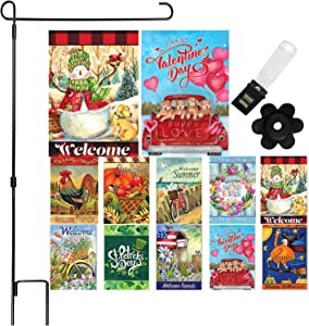 Seasonal Garden Flag Set of 10-12 x 18 Inch Yard Flag Decorations Double Sided Banner for Outdoor Porch with Garden Holder Stand
