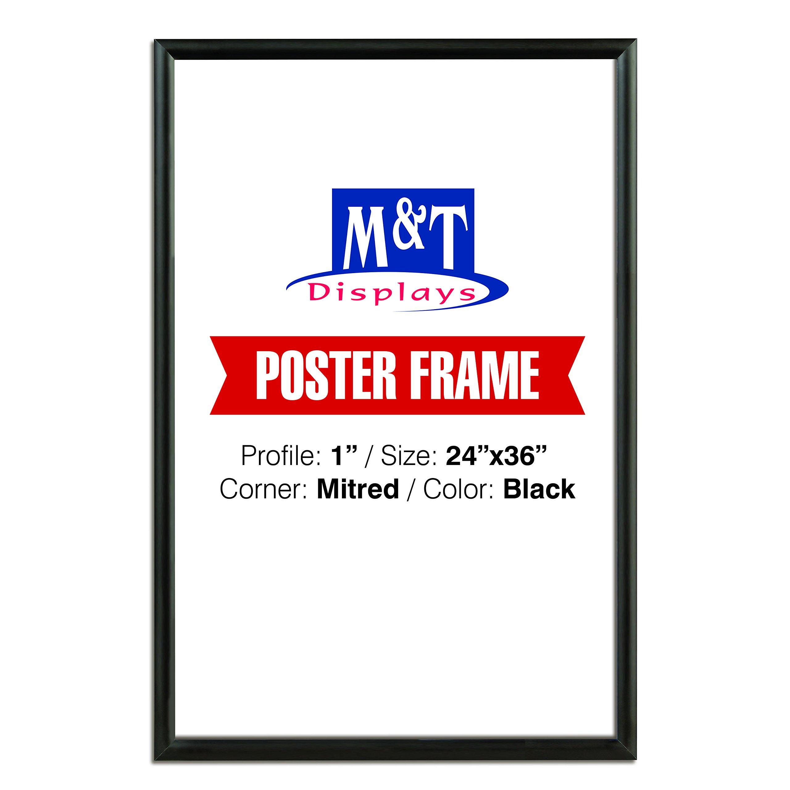 M&T Displays Snap Frame, 24X36 Poster Size, 1'' Black Color Profile, Mitred Corner