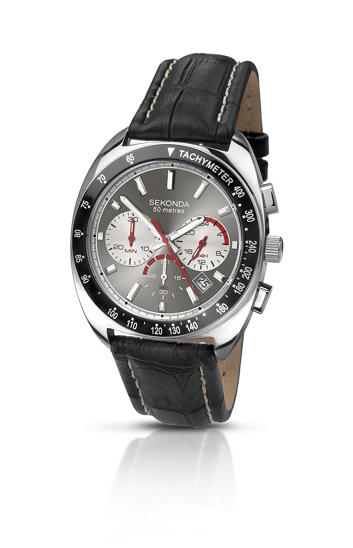 Sekonda Herren-Armbanduhr mit schwarz Lederarmband Chonograph und Datum 3509