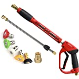 Tool Daily Deluxe Pressure Washer Gun, with Replacement Wand Extension, 5 Nozzle Tips, M22 Fitting, 40 Inch, 5000 PSI