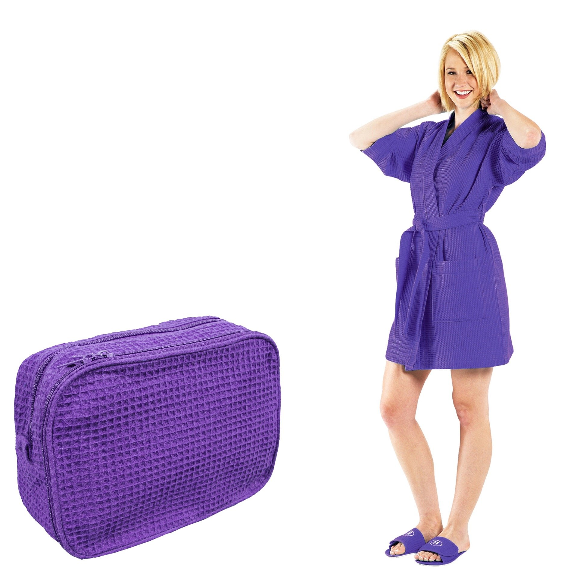 NobleHomeShop Women's Waffle Weave Thigh Length Bathrobe and Make-Up Bag (BUNDLE! Perfect For College!) (XXL, Purple)
