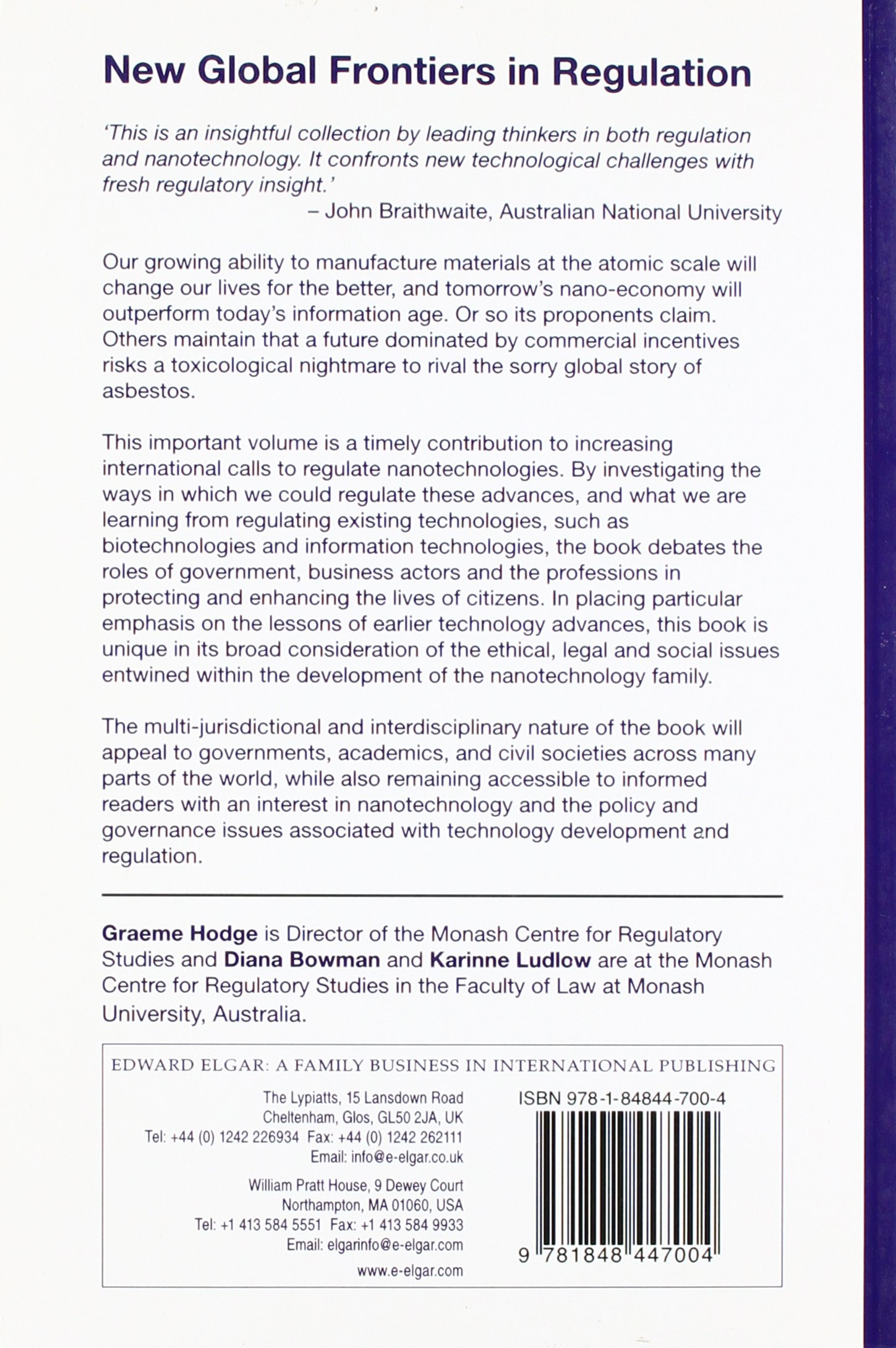 New Global Frontiers in Regulation: The Age of Nanotechnology (Monash  Studies in Global Movements Series): Amazon.co.uk: Graeme Hodge, Diana  Bowman, ...