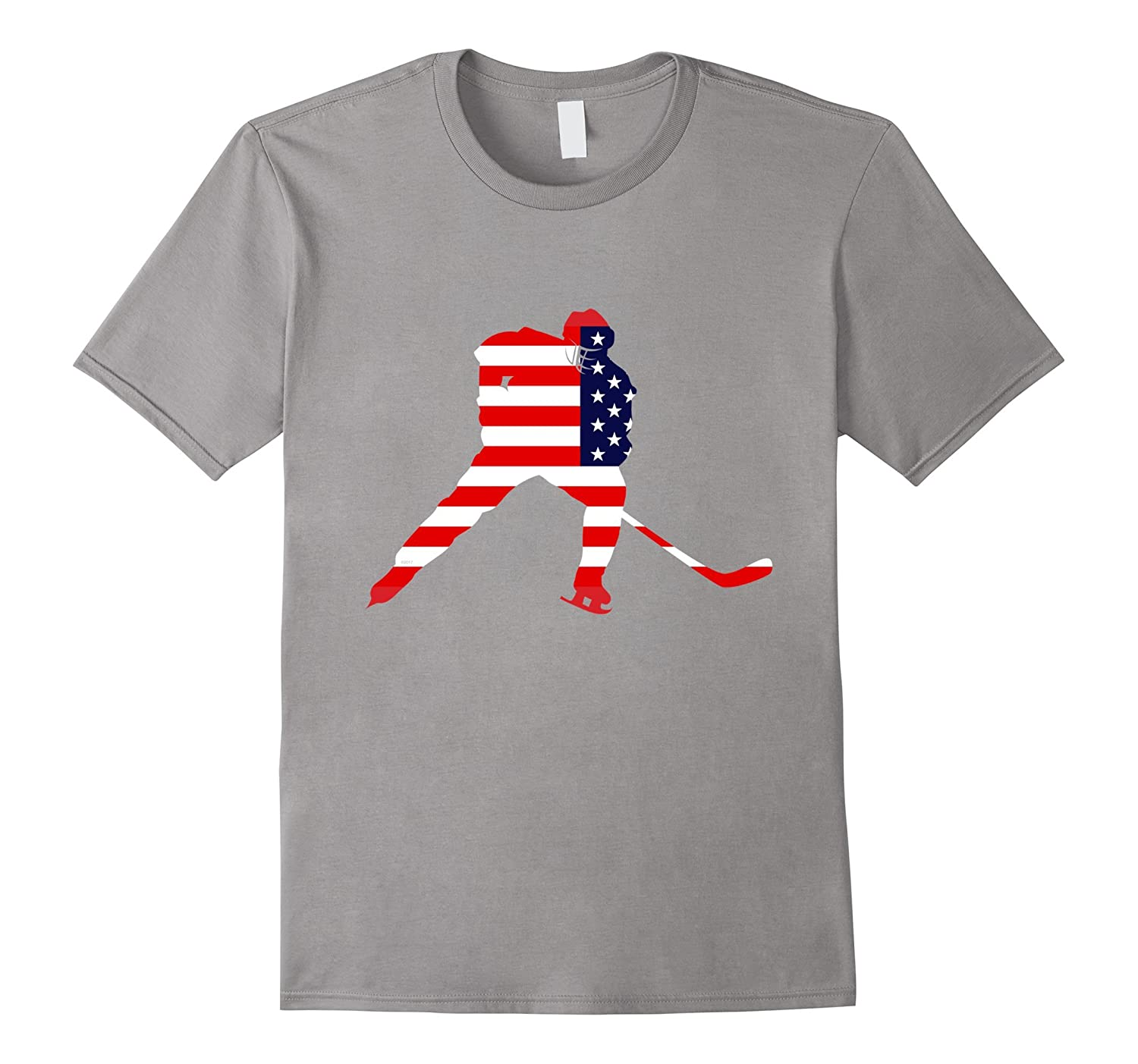 USA Ice Hockey T Shirt Player Love American Team Stick Puck-Vaci