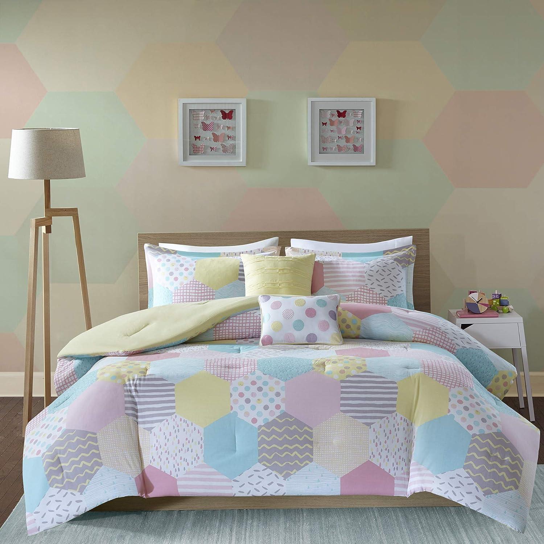 Urban Habitat Kids Trixie Pink Yellow Teal, Geometric – 4 Pieces Kids Girl  Set – Cotton Childrens Bedroom Bed Comforters