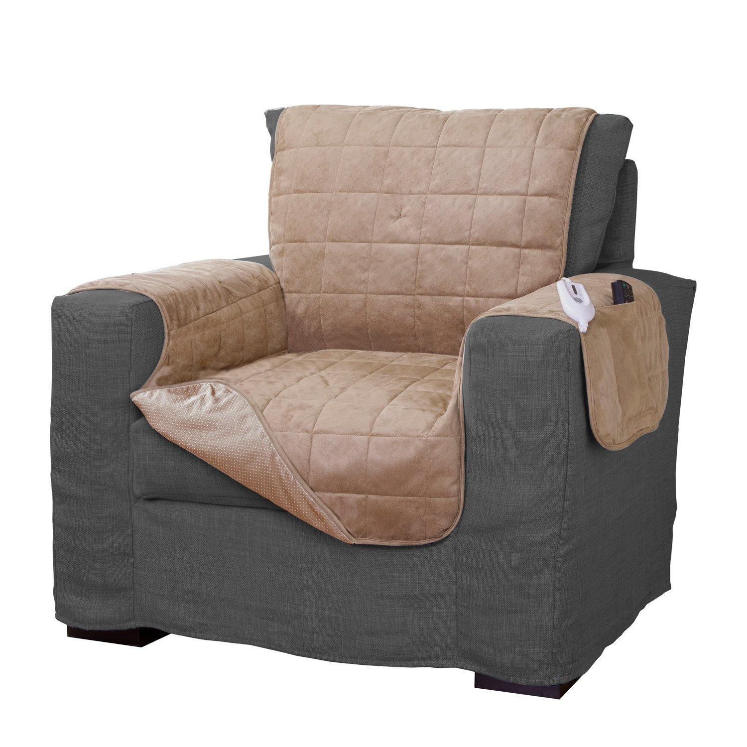Serta Microsuede Diamond Quilted Electric Warming Furniture Chair Protector, Camel