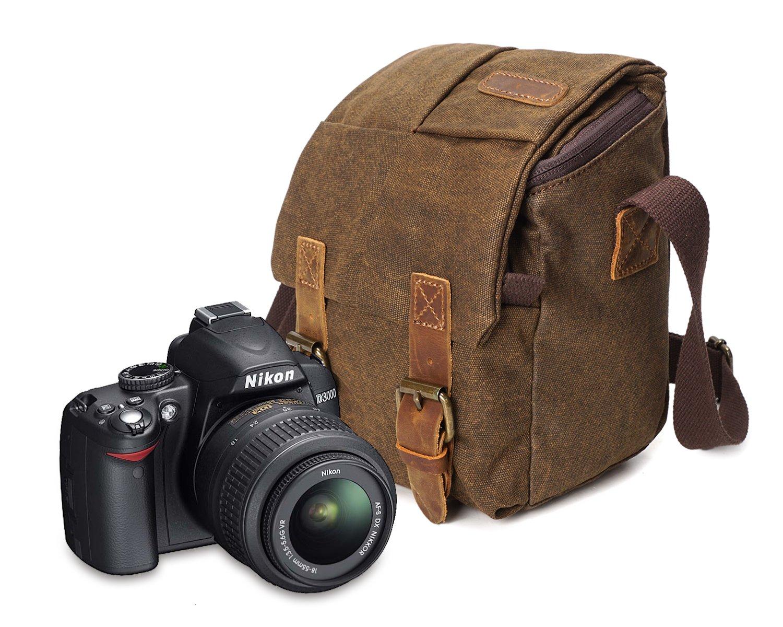 Waterproof Canvas Leather Trim DSLR SLR Shockproof Camera Shoulder Messenger Bag (Grey) 3229-G