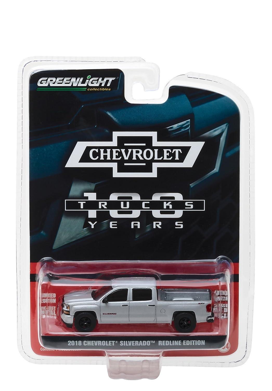 Greenlight 27940 F 2018 Chevrolet Silverado Redline Edition Silver 100th Anniversary of Chevy Trucks Anniversary Collection Series 6 1 64 Model Car