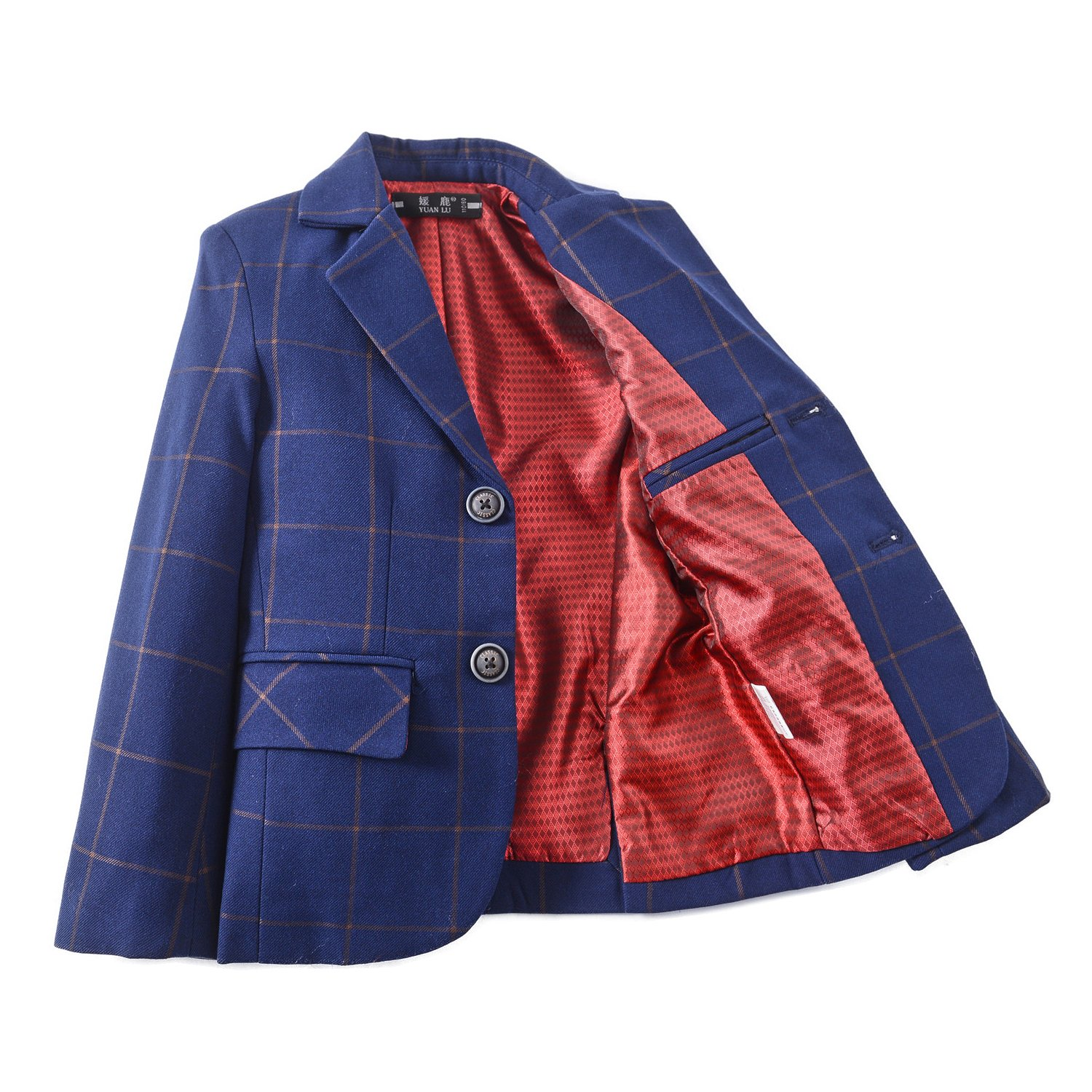YuanLu Boys Plaid Tuxedo Suits Kids Outfit Jacket For Weddings Size 12 Navy Blue by YuanLu (Image #3)