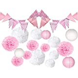 Pink and White Tissue POM POMS, Bunting penant Banners and Lanterns Bundle for Wedding Birthday Party Baby Girl boy…