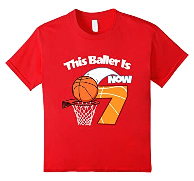 Kids Boys 7th Birthday Basketball T Shirt