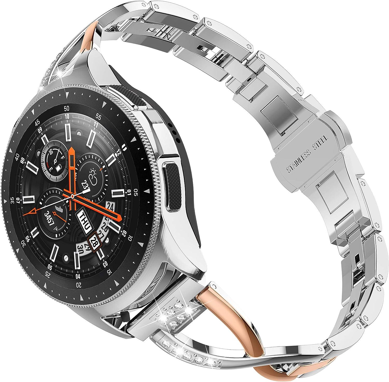 Ownaco - Correa de repuesto para Samsung Galaxy Watch de 42 mm, correa activa de 40 mm, 20 mm, correa de metal para mujer con hebilla de mariposa para reloj Gear S2 Classic (oro rosa plateado)